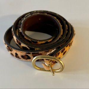 J. crew leather leopard calf hair belt
